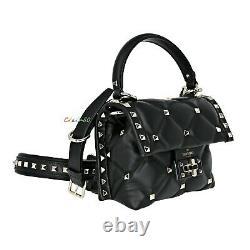 NWT Authentic Valentino Garavani Mini Candystud Leather Top Handle/Crossbody Bag