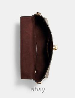 NWT COACH Marlie Top Handle Satchel Blocked Canvas Gold Chain Khaki Brown C1563