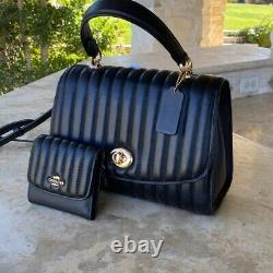 NWT COACH Tilly Leather Top Handle Quilted Leather Satchel/Wallet options black
