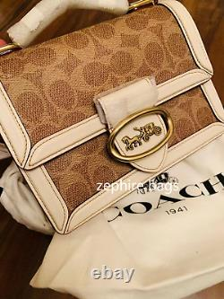 NWT Coach Riley Top Handle 18 In Signature Canvas Tan/Chalk/Brass