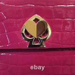 NWT Kate Spade Romy Pink Croc-Embossed Leather Mini Flap Top Handle Bag $328