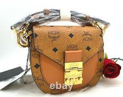 NWT Mcm Patricia Visetos Coated Canvas Leather Top Handle Shoulder Bag Cognac