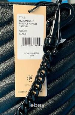 NWT Rebecca Minkoff Edie Top Handle Quilted Leather Satchel/Crossbody Bag BLACK