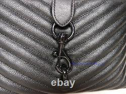 NWT Rebecca Minkoff Edie Top Quilted Handle Leather Crossbody Bag BLACK AUTHENTC