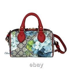 New Authentic Gucci GG Supreme Monogram Blooms Mini Boston Top Handle Bag