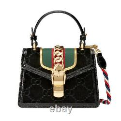 New Authentic Gucci Mini Sylvie Velvet Top Handle Bag