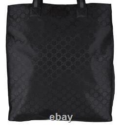 New Gucci 449177 Black Nylon Tonal GG Guccissima Top Handle Tall Tote Bag Purse