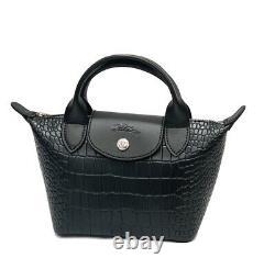 New Longchamp Le Pliage Mini Cuir Croco Block Top Handle Black Bag