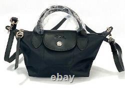 New Longchamp Le Pliage Neo mini Top Handle / Crossbody Black Bag