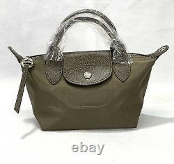 New Longchamp Le Pliage Neo mini Top Handle / Crossbody taupe bag