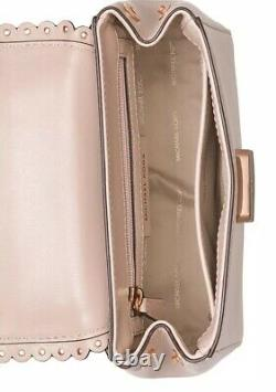 New michael kors Top Handle Crossbody soft pink gold mini leather scallopped bag