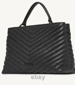 Nwt Rebecca Minkoff Edie Signature Quilted Leather Top Handle Satchel Black