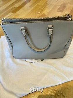 PRADA Beige Leather Medium Saffiano Double Zip Tote Top Handle Designer Bag
