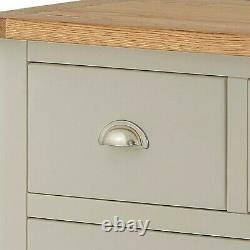 Padstow Grey 2 over 4 Chest of 6 Drawers Painted Solid Pine Wood Cabinet Oak Top
