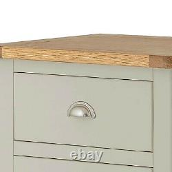 Padstow Grey Tallboy Chest of Drawers Painted Solid Pine Slim Wellington Oak Top