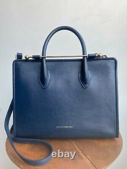 STRATHBERRY Navy Blue Leather Midi Tote Shoulder Strap Top Handle Purse Bag
