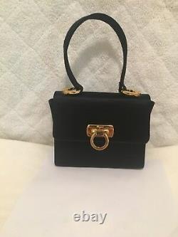 Salvatore Ferragamo Authentic Kelly Top Handle Satchel Satin Sz S Italy Handbag