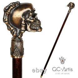 Skull Head Walking Stick Brass Cane Metal Bronze top Knob handle wooden shaft 36