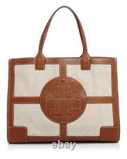 TORY BURCH Ella LARGE Canvas Quadrant Top Handle Tote Bag