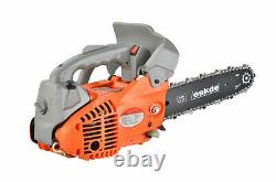 Top Handle Petrol Chainsaw Topping Limbing 26cc Engine 10 Bar 2 Chains Bag Pro