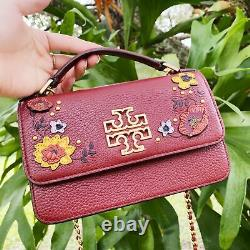 Tory Burch Britten Embellished Mini Top Handle Bag Crossbody Blood Red Floral