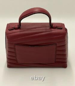 Tory Burch Kira Chevron Quilted Top Handle Apple Red Shoulder Bag Authentic NWT
