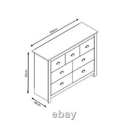 Traditional Merchant Chest 7 Drawers. Soft Grey. Light Oak Top. Cup Handles
