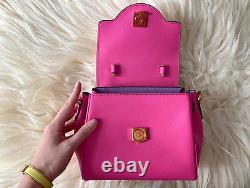 Versace La Medusa Small Bright Pink Leather Top Handle Shoulder Bag
