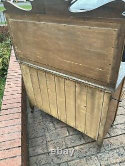 Vintage Edwardian Wash Stand, marble Top & Back, mahogany, original Handles