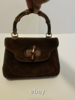 Vintage Gucci Bamboo Top Handle Brown Suede Medium Tote Hand Bag Authentic