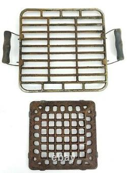Vintage Konro Japan Cast Iron Table Top Hibachi Grill Wood Handles Old Retro