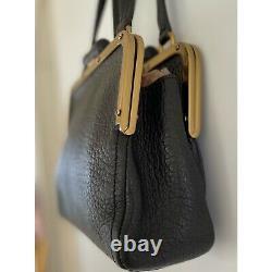 Vintage Prada Pebbled Leather Double Flap Frame Top Handle Bag
