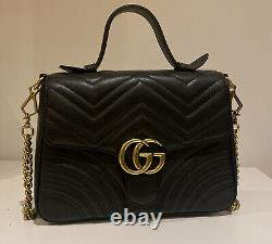 Womens Black GUCCI GG Marmont Mini Top Handle Bag