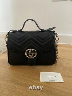Womens GUCCI GG Marmont Mini Top Black Handle Bag